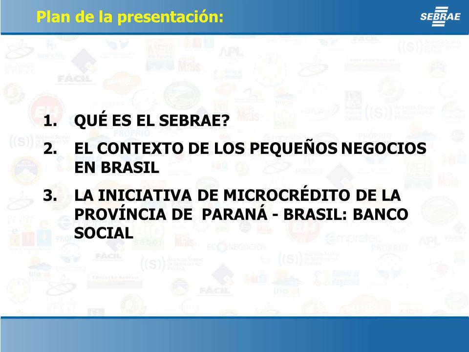Plan de la presentación: 1.QUÉ ES EL SEBRAE.