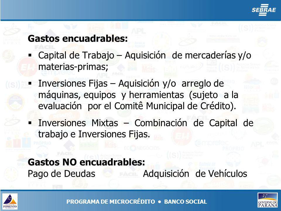 Gastos encuadrables: Capital de Trabajo – Aquisición de mercaderías y/o materias-primas; Inversiones Fijas – Aquisición y/o arreglo de máquinas, equipos y herramientas (sujeto a la evaluación por el Comitê Municipal de Crédito).