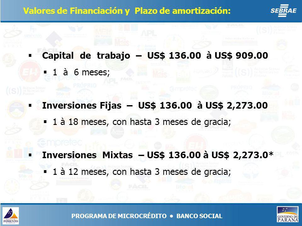 Valores de Financiación y Plazo de amortización: Capital de trabajo – US$ 136.00 à US$ 909.00 1 à 6 meses; Inversiones Fijas – US$ 136.00 à US$ 2,273.00 1 à 18 meses, con hasta 3 meses de gracia; Inversiones Mixtas – US$ 136.00 à US$ 2,273.0* 1 à 12 meses, con hasta 3 meses de gracia;