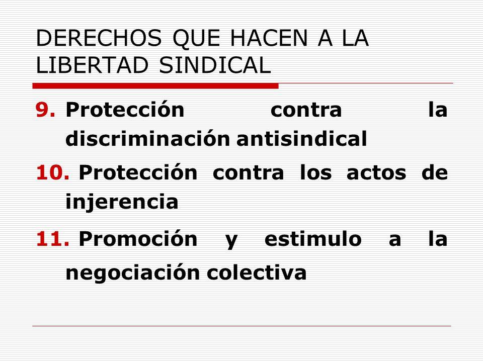 DERECHOS QUE HACEN A LA LIBERTAD SINDICAL 9.Protección contra la discriminación antisindical 10. Protección contra los actos de injerencia 11. Promoci