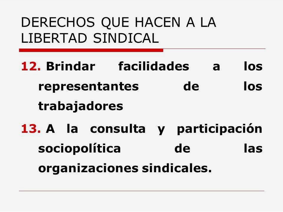 DERECHOS QUE HACEN A LA LIBERTAD SINDICAL 12. Brindar facilidades a los representantes de los trabajadores 13. A la consulta y participación sociopolí