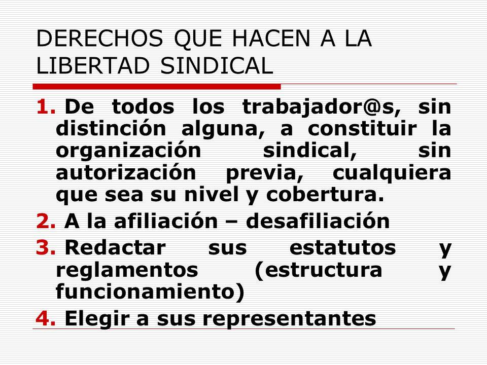 DERECHOS QUE HACEN A LA LIBERTAD SINDICAL 1. De todos los trabajador@s, sin distinción alguna, a constituir la organización sindical, sin autorización