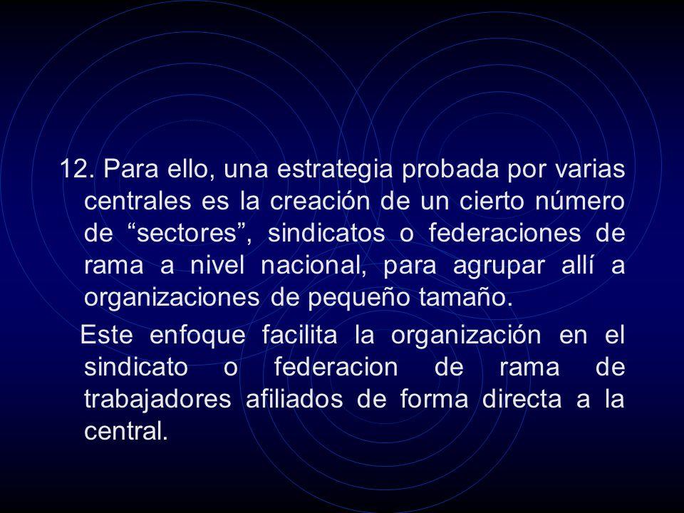 12. Para ello, una estrategia probada por varias centrales es la creación de un cierto número de sectores, sindicatos o federaciones de rama a nivel n