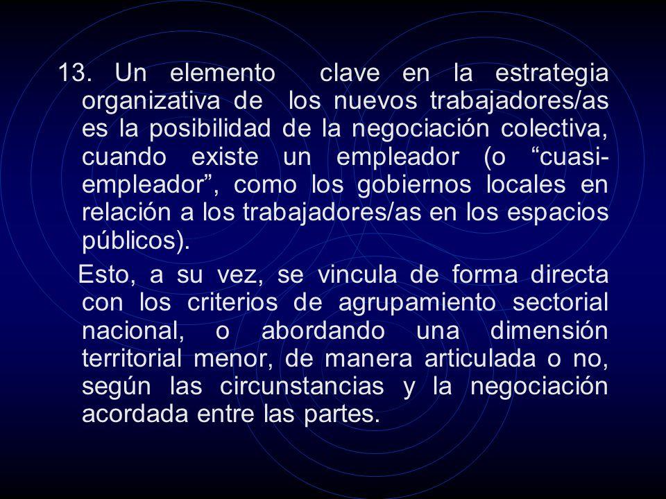 13. Un elemento clave en la estrategia organizativa de los nuevos trabajadores/as es la posibilidad de la negociación colectiva, cuando existe un empl