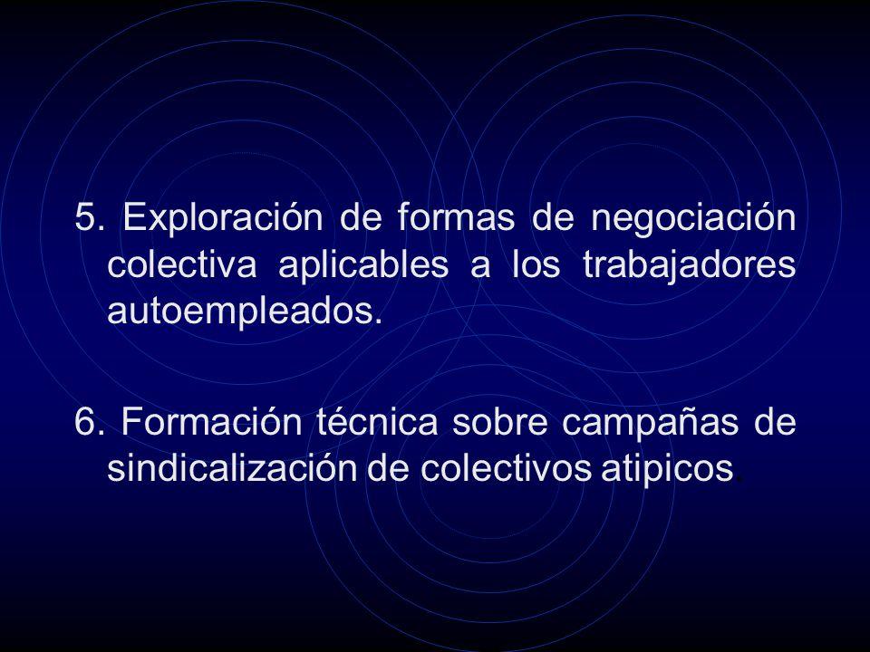 5. Exploración de formas de negociación colectiva aplicables a los trabajadores autoempleados.
