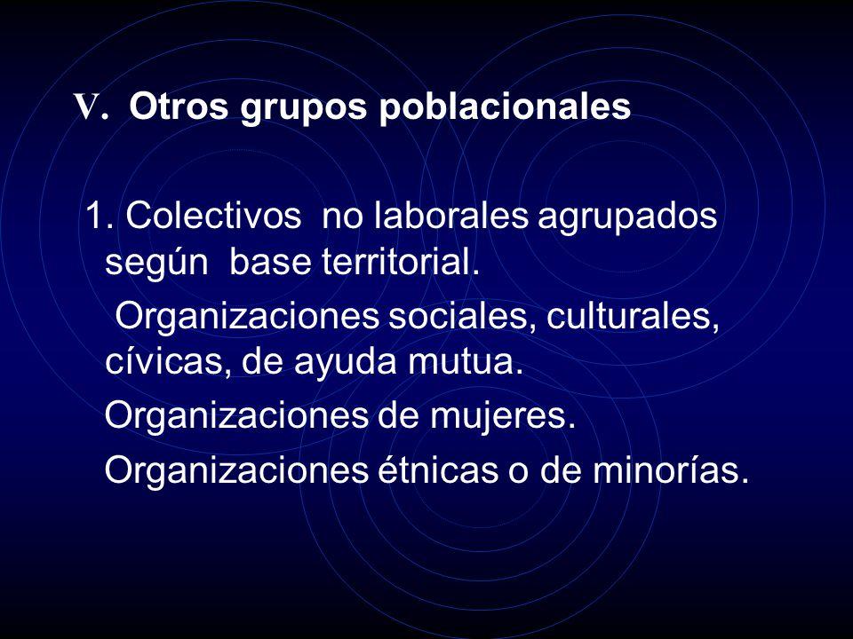 V. Otros grupos poblacionales 1. Colectivos no laborales agrupados según base territorial.
