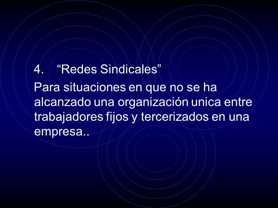 4. Redes Sindicales Para situaciones en que no se ha alcanzado una organización unica entre trabajadores fijos y tercerizados en una empresa..