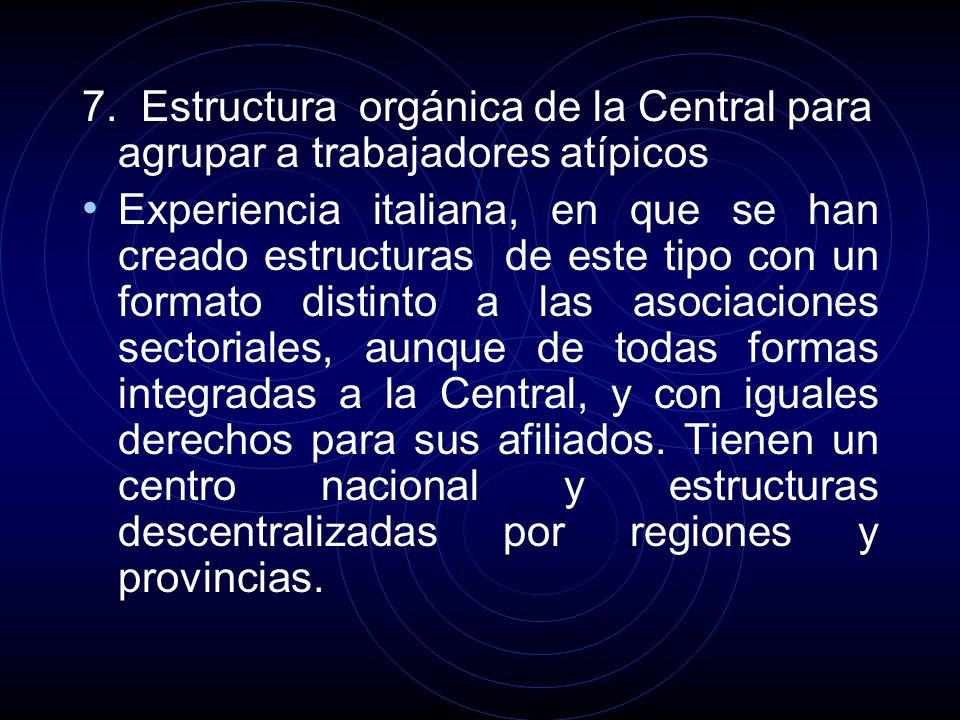 7. Estructura orgánica de la Central para agrupar a trabajadores atípicos Experiencia italiana, en que se han creado estructuras de este tipo con un f