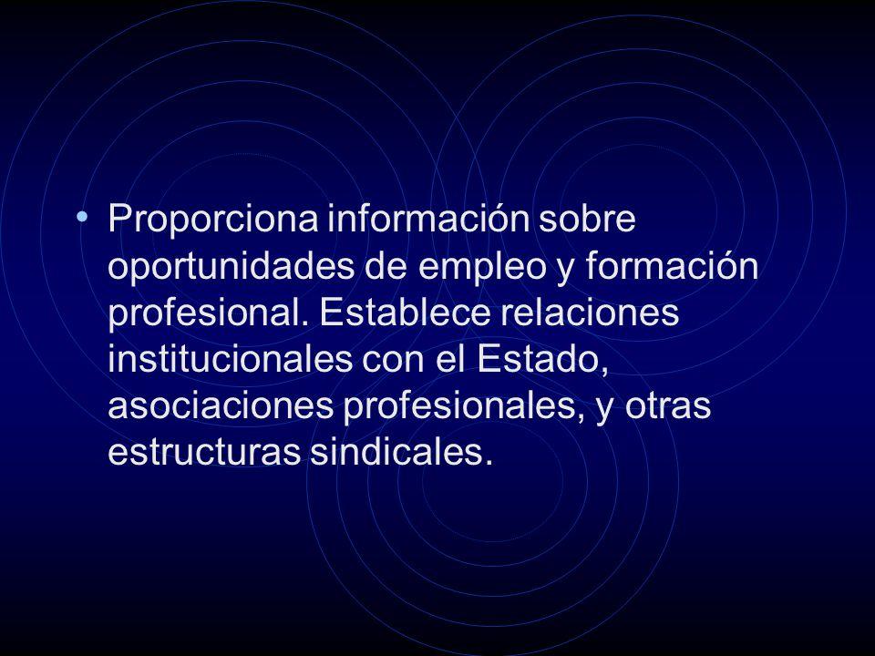 Proporciona información sobre oportunidades de empleo y formación profesional.