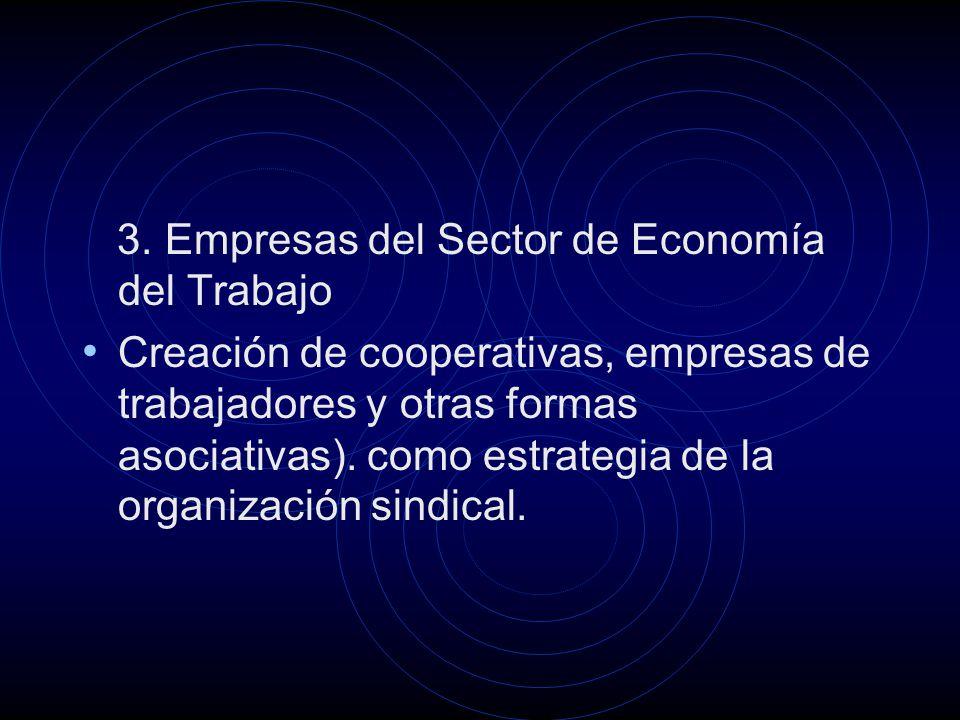 3. Empresas del Sector de Economía del Trabajo Creación de cooperativas, empresas de trabajadores y otras formas asociativas). como estrategia de la o