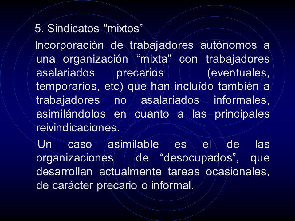 5. Sindicatos mixtos Incorporación de trabajadores autónomos a una organización mixta con trabajadores asalariados precarios (eventuales, temporarios,