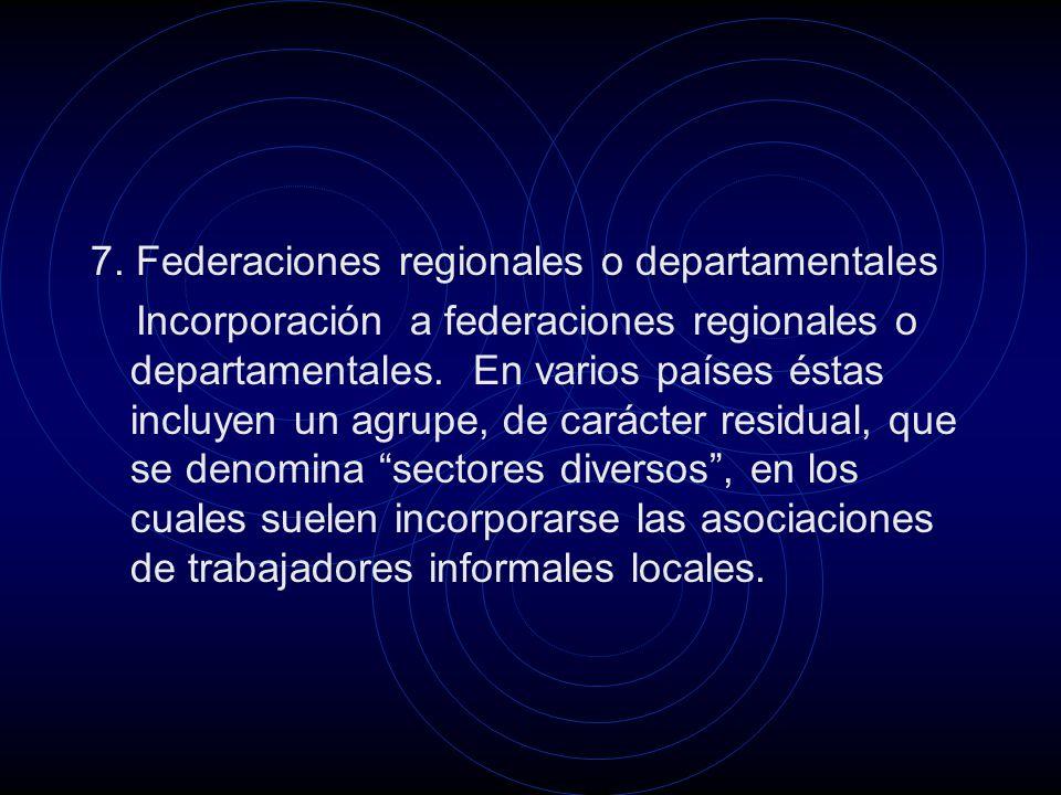 7. Federaciones regionales o departamentales Incorporación a federaciones regionales o departamentales. En varios países éstas incluyen un agrupe, de