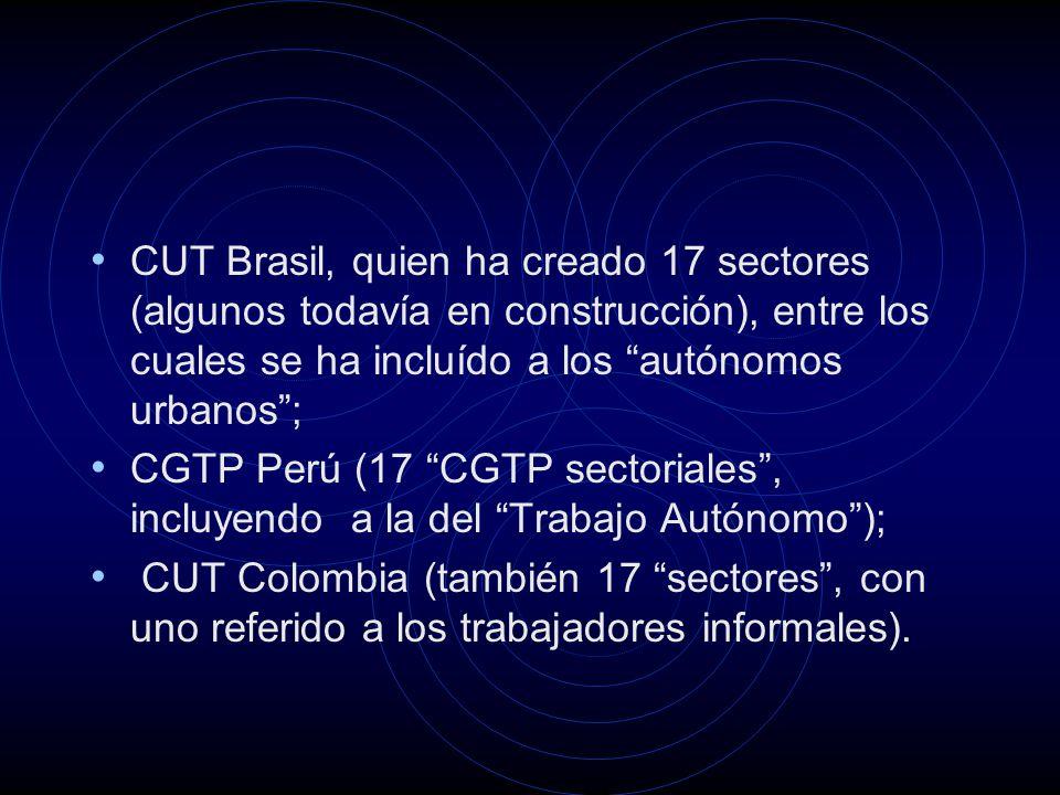 CUT Brasil, quien ha creado 17 sectores (algunos todavía en construcción), entre los cuales se ha incluído a los autónomos urbanos; CGTP Perú (17 CGTP sectoriales, incluyendo a la del Trabajo Autónomo); CUT Colombia (también 17 sectores, con uno referido a los trabajadores informales).