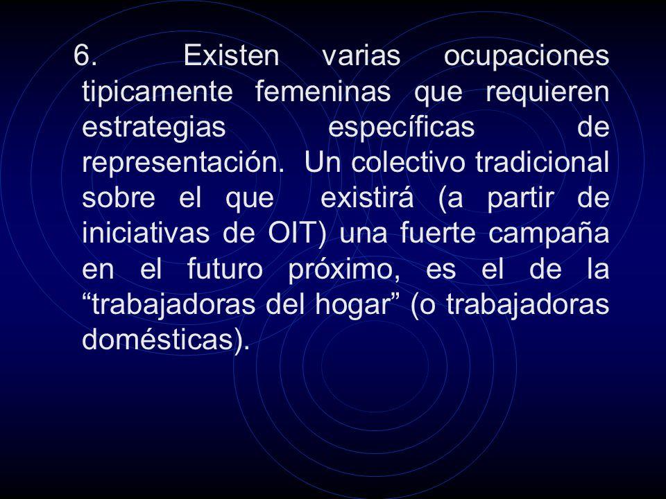 6. Existen varias ocupaciones tipicamente femeninas que requieren estrategias específicas de representación. Un colectivo tradicional sobre el que exi