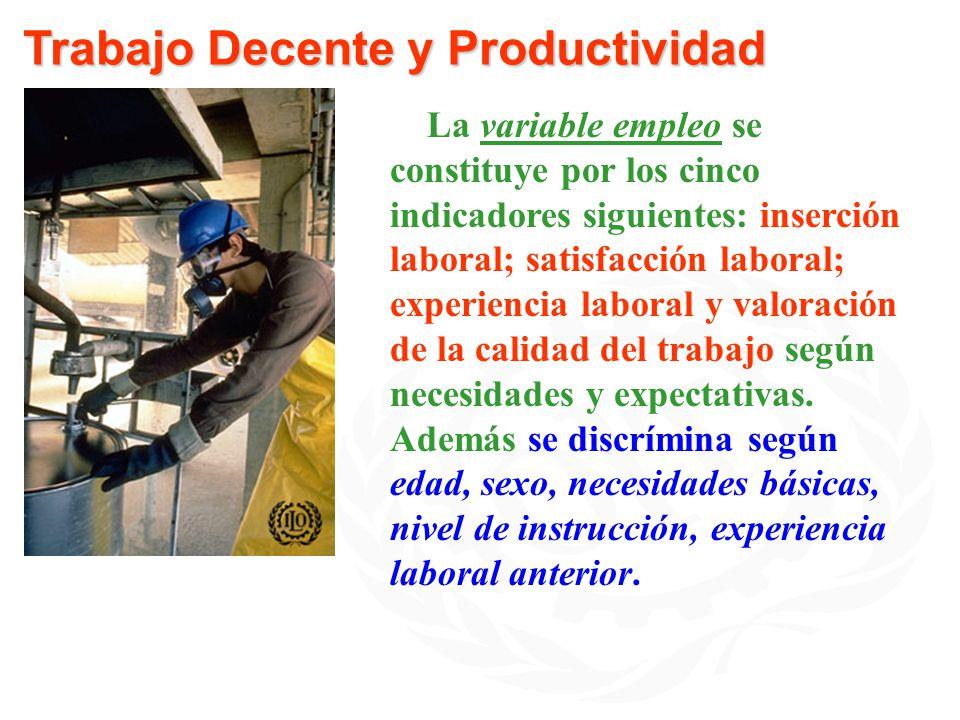 Trabajo Decente y Productividad La variable empleo se constituye por los cinco indicadores siguientes: inserción laboral; satisfacción laboral; experi