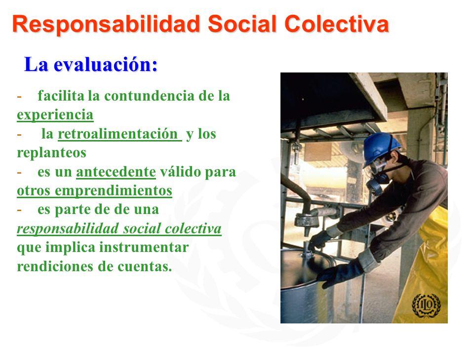 Responsabilidad Social Colectiva -facilita la contundencia de la experiencia - la retroalimentación y los replanteos -es un antecedente válido para ot