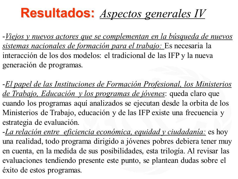 Resultados: Resultados: Aspectos generales IV -Viejos y nuevos actores que se complementan en la búsqueda de nuevos sistemas nacionales de formación p