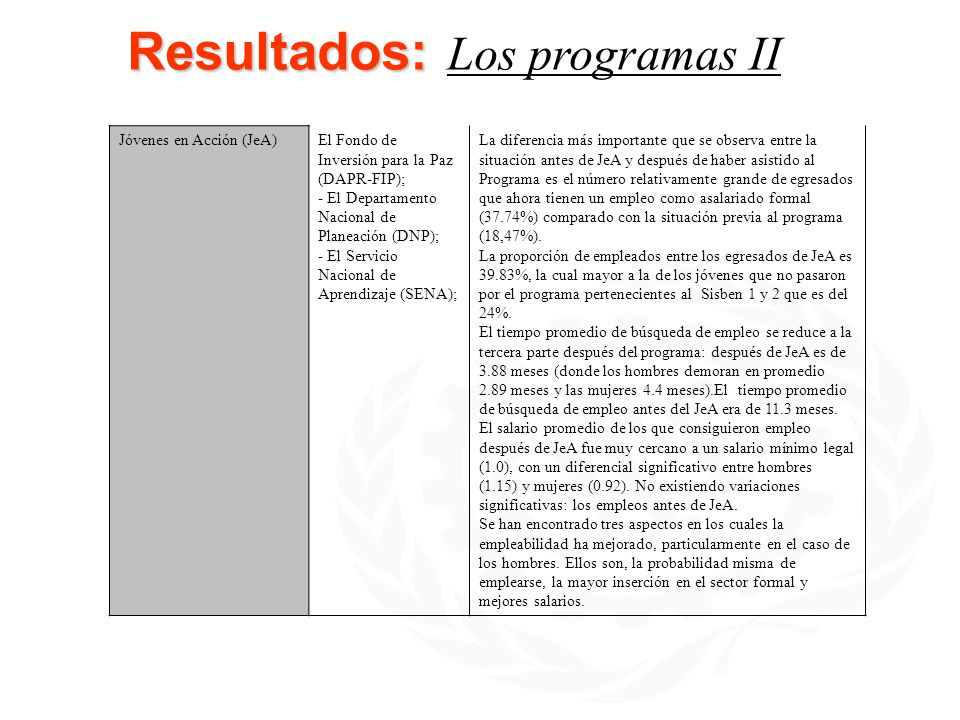 Resultados: Resultados: Los programas II Jóvenes en Acción (JeA)El Fondo de Inversión para la Paz (DAPR-FIP); - El Departamento Nacional de Planeación