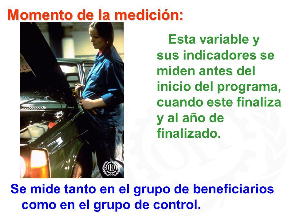 Se mide tanto en el grupo de beneficiarios como en el grupo de control. Momento de la medición: Esta variable y sus indicadores se miden antes del ini