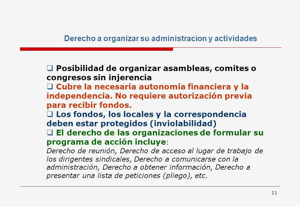 11 Derecho a organizar su administracion y actividades Posibilidad de organizar asambleas, comites o congresos sin injerencia Cubre la necesaria autonomía financiera y la independencia.