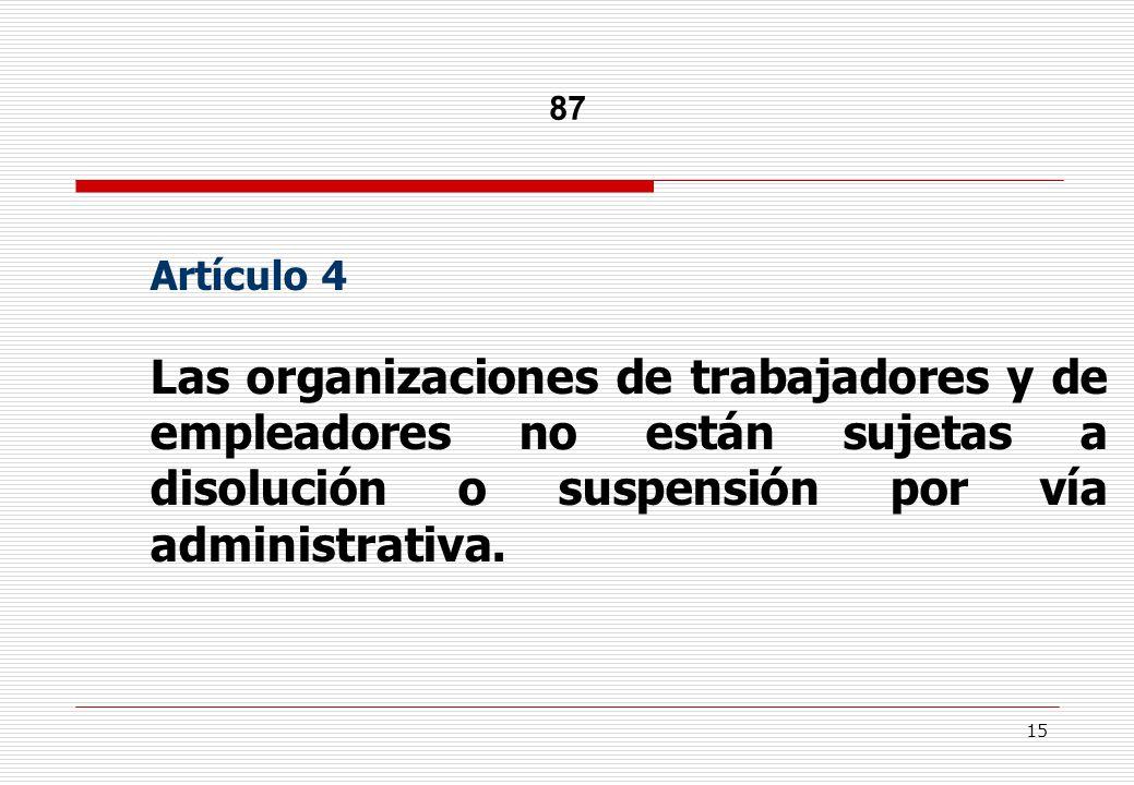 15 87 Artículo 4 Las organizaciones de trabajadores y de empleadores no están sujetas a disolución o suspensión por vía administrativa.
