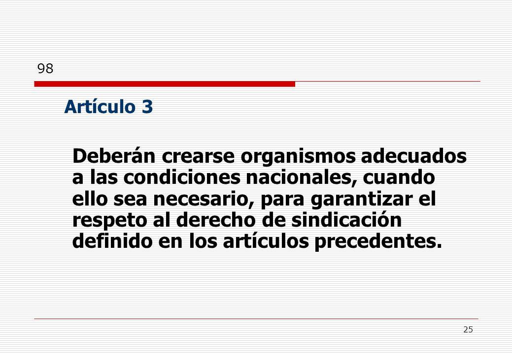 25 Artículo 3 Deberán crearse organismos adecuados a las condiciones nacionales, cuando ello sea necesario, para garantizar el respeto al derecho de sindicación definido en los artículos precedentes.