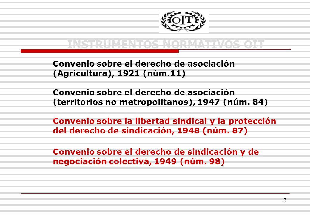 3 INSTRUMENTOS NORMATIVOS OIT Convenio sobre el derecho de asociación (Agricultura), 1921 (núm.11) Convenio sobre el derecho de asociación (territorios no metropolitanos), 1947 (núm.