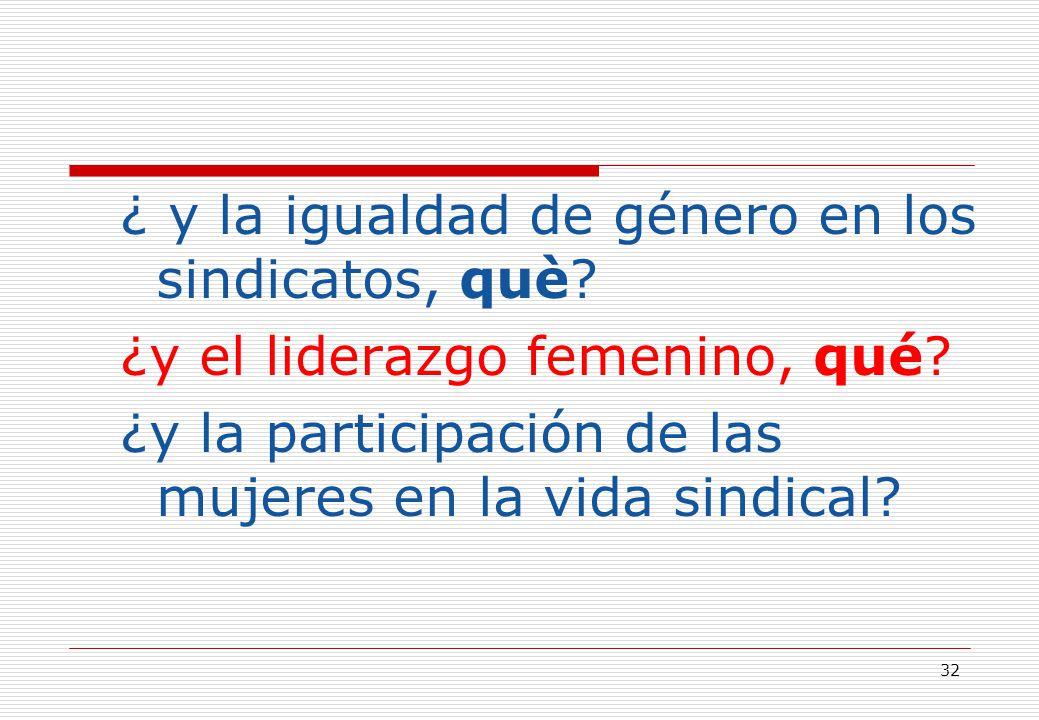 32 ¿ y la igualdad de género en los sindicatos, què.