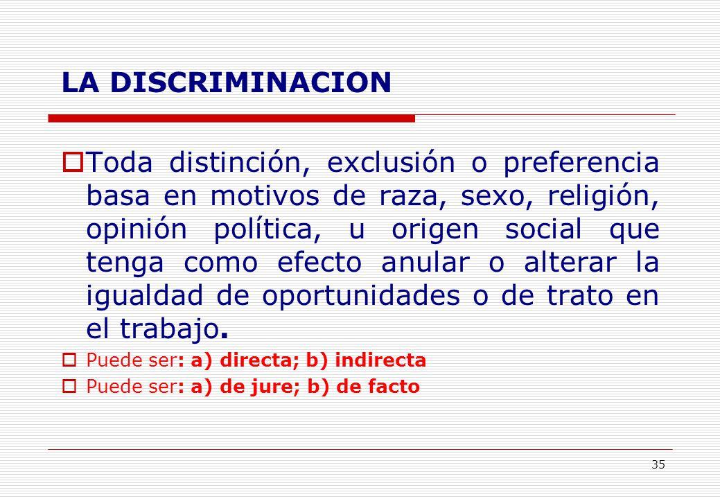 35 LA DISCRIMINACION Toda distinción, exclusión o preferencia basa en motivos de raza, sexo, religión, opinión política, u origen social que tenga como efecto anular o alterar la igualdad de oportunidades o de trato en el trabajo.