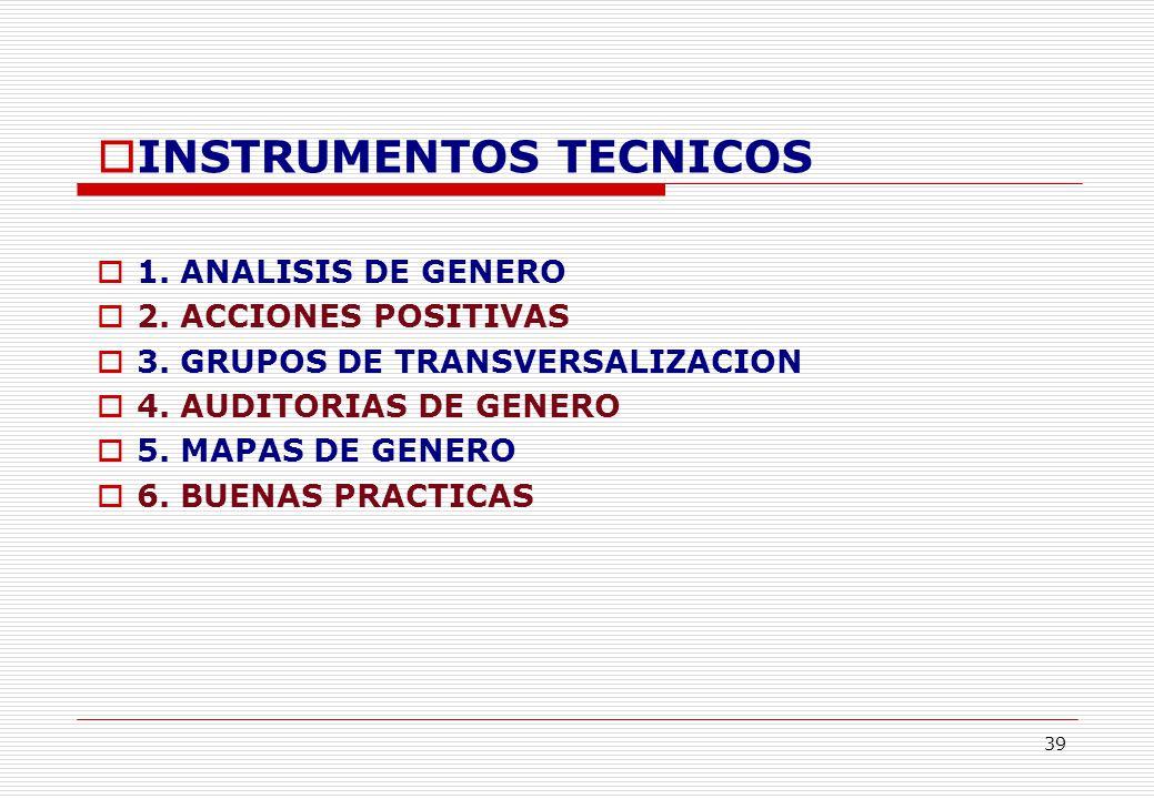 39 INSTRUMENTOS TECNICOS 1. ANALISIS DE GENERO 2.