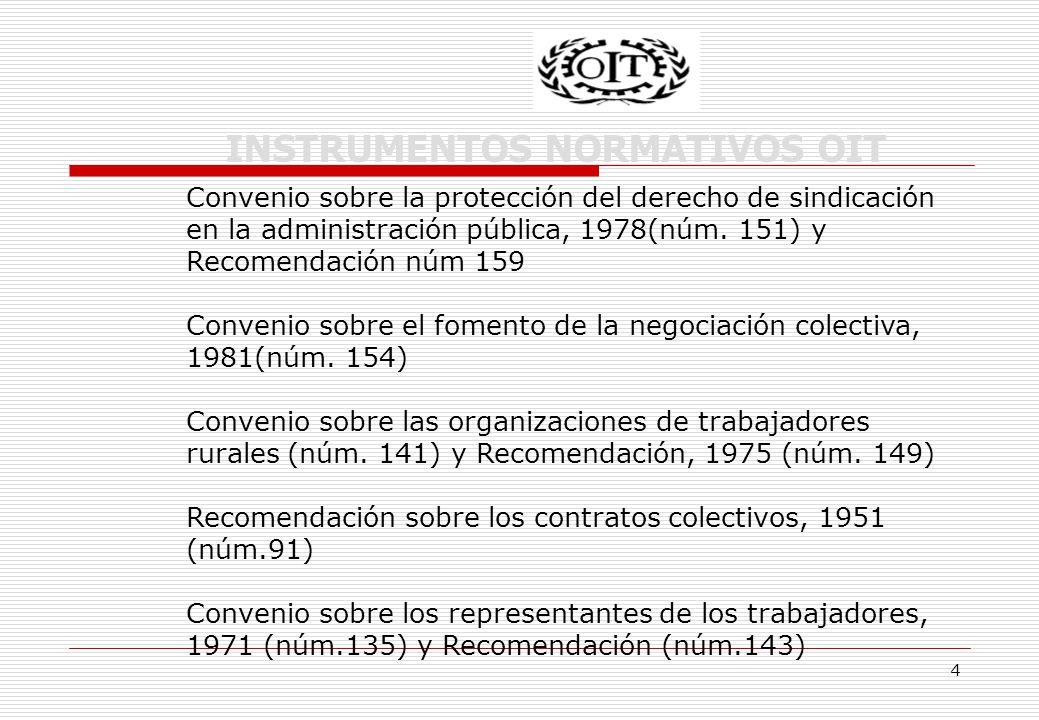 4 INSTRUMENTOS NORMATIVOS OIT Convenio sobre la protección del derecho de sindicación en la administración pública, 1978(núm.