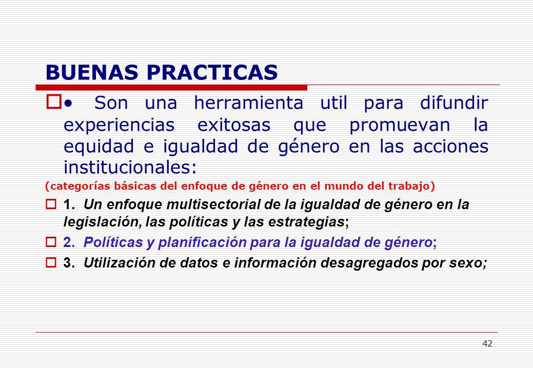 42 BUENAS PRACTICAS Son una herramienta util para difundir experiencias exitosas que promuevan la equidad e igualdad de género en las acciones institucionales: (categorías básicas del enfoque de género en el mundo del trabajo) 1.