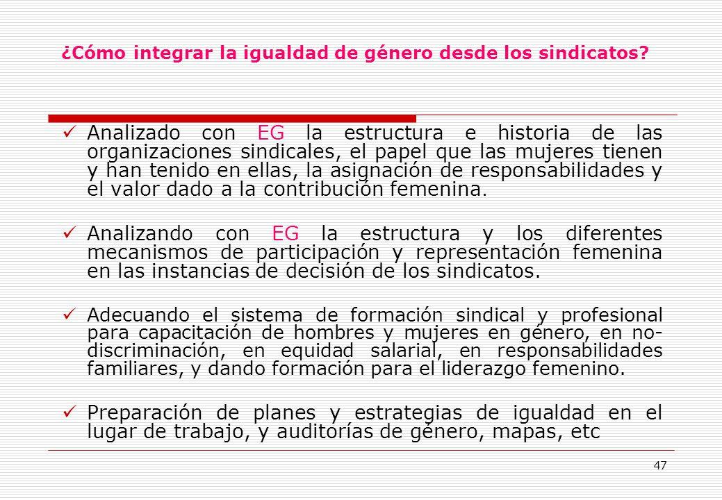 47 ¿Cómo integrar la igualdad de género desde los sindicatos.