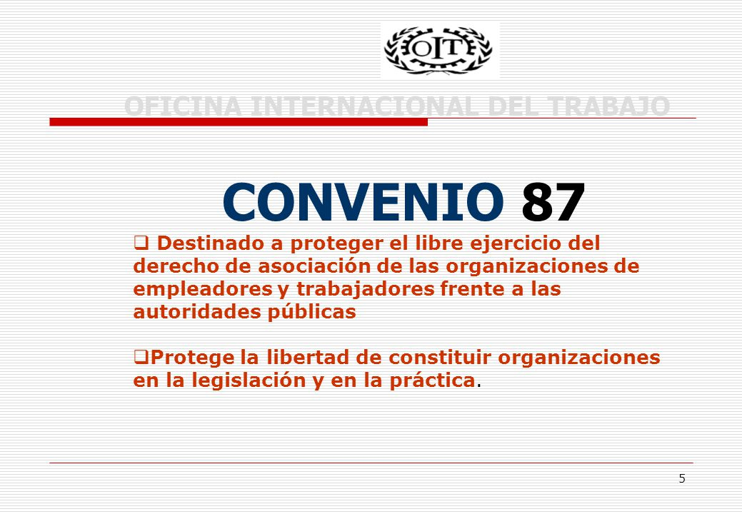 5 OFICINA INTERNACIONAL DEL TRABAJO CONVENIO 87 Destinado a proteger el libre ejercicio del derecho de asociación de las organizaciones de empleadores y trabajadores frente a las autoridades públicas Protege la libertad de constituir organizaciones en la legislación y en la práctica.