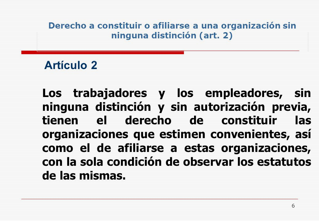 17 87 Artículo 7 La adquisición de la personalidad jurídica por las organizaciones de trabajadores y de empleadores, sus federaciones y confederaciones no puede estar sujeta a condiciones cuya naturaleza limite la aplicación de las disposiciones de los artículos 2, 3 y 4 de este Convenio 3