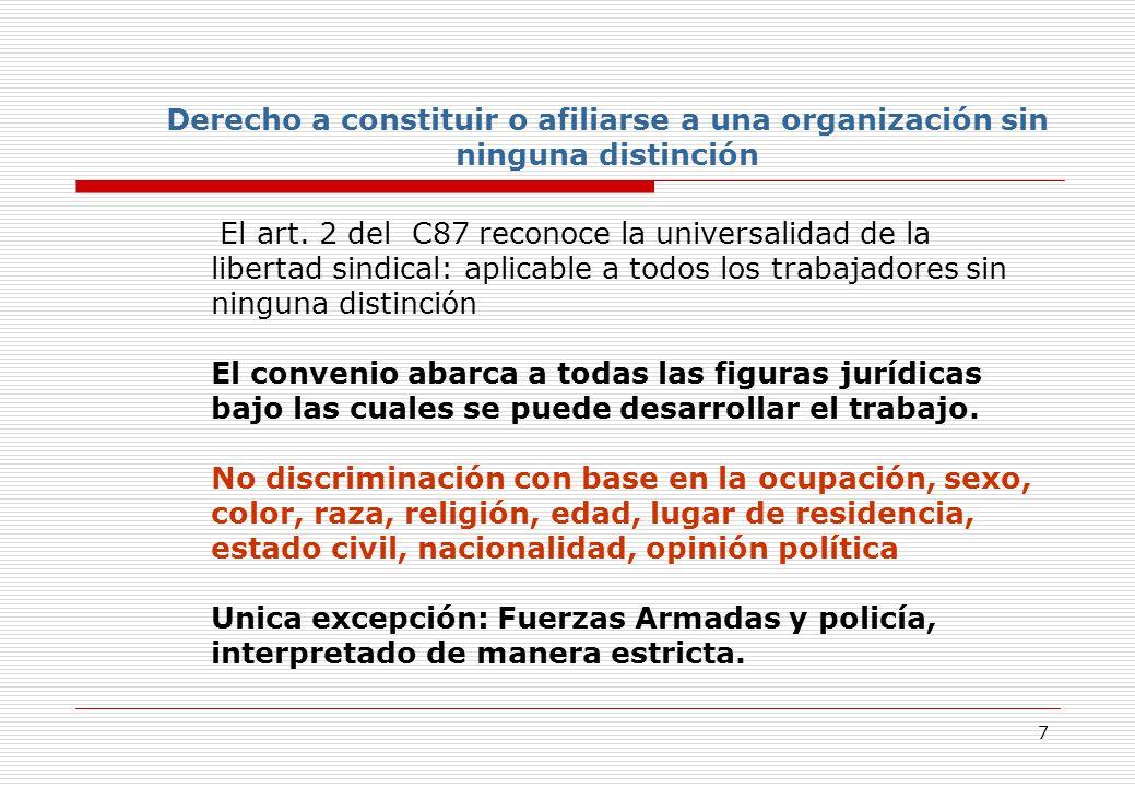 7 Derecho a constituir o afiliarse a una organización sin ninguna distinción El art.
