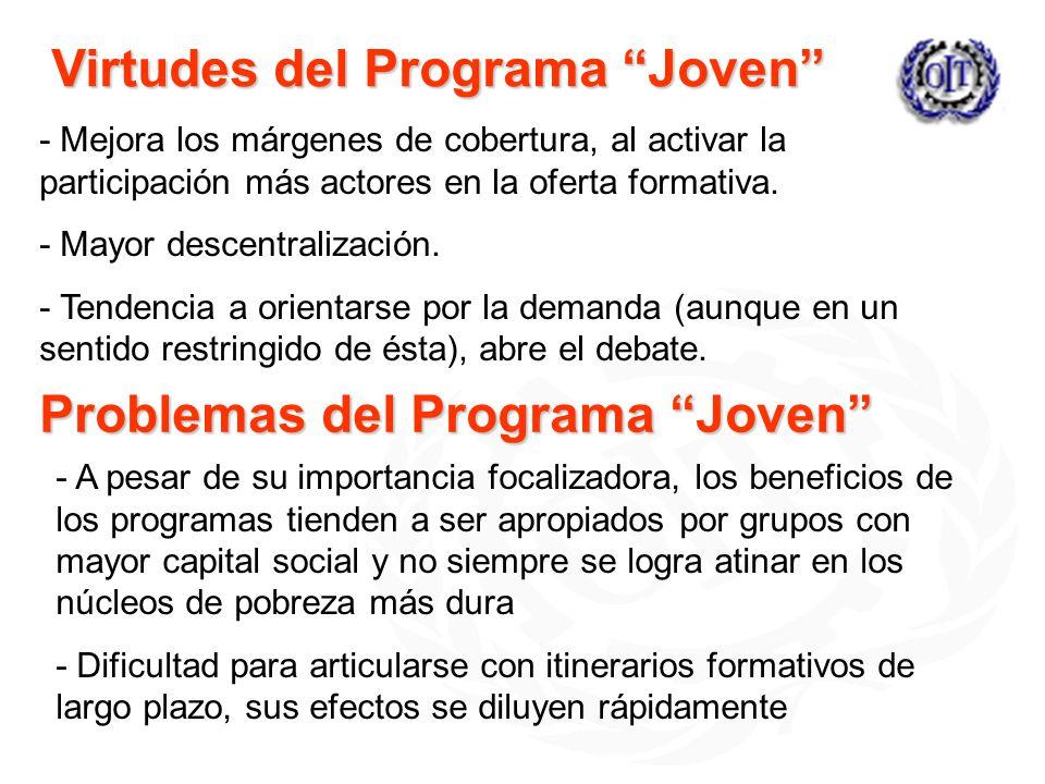 Virtudes del Programa Joven - Mejora los márgenes de cobertura, al activar la participación más actores en la oferta formativa. - Mayor descentralizac