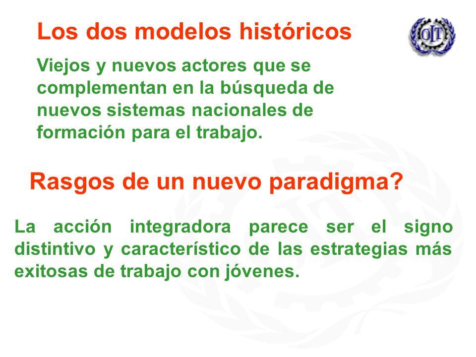 Los dos modelos históricos Viejos y nuevos actores que se complementan en la búsqueda de nuevos sistemas nacionales de formación para el trabajo.