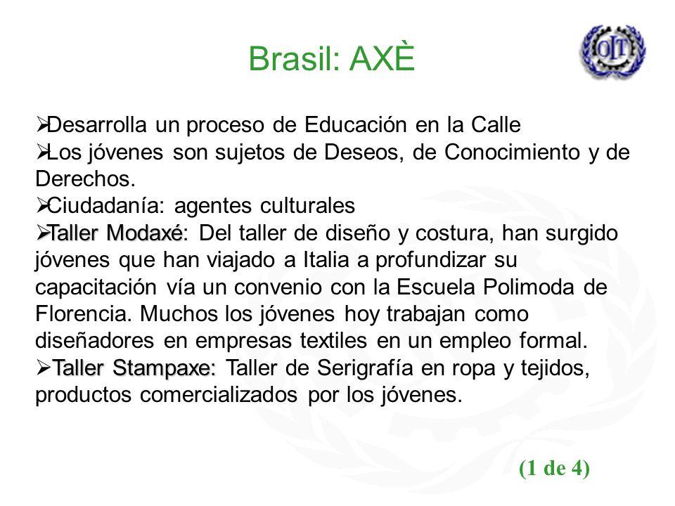 Brasil: AXÈ Desarrolla un proceso de Educación en la Calle Los jóvenes son sujetos de Deseos, de Conocimiento y de Derechos. Ciudadanía: agentes cultu