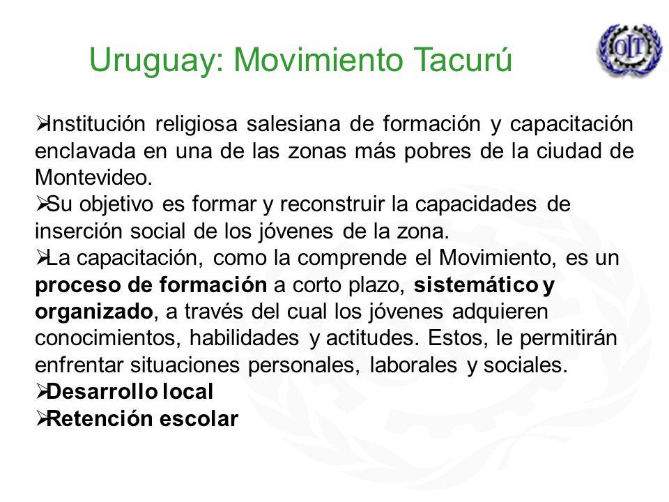 Uruguay: Movimiento Tacurú Institución religiosa salesiana de formación y capacitación enclavada en una de las zonas más pobres de la ciudad de Montevideo.