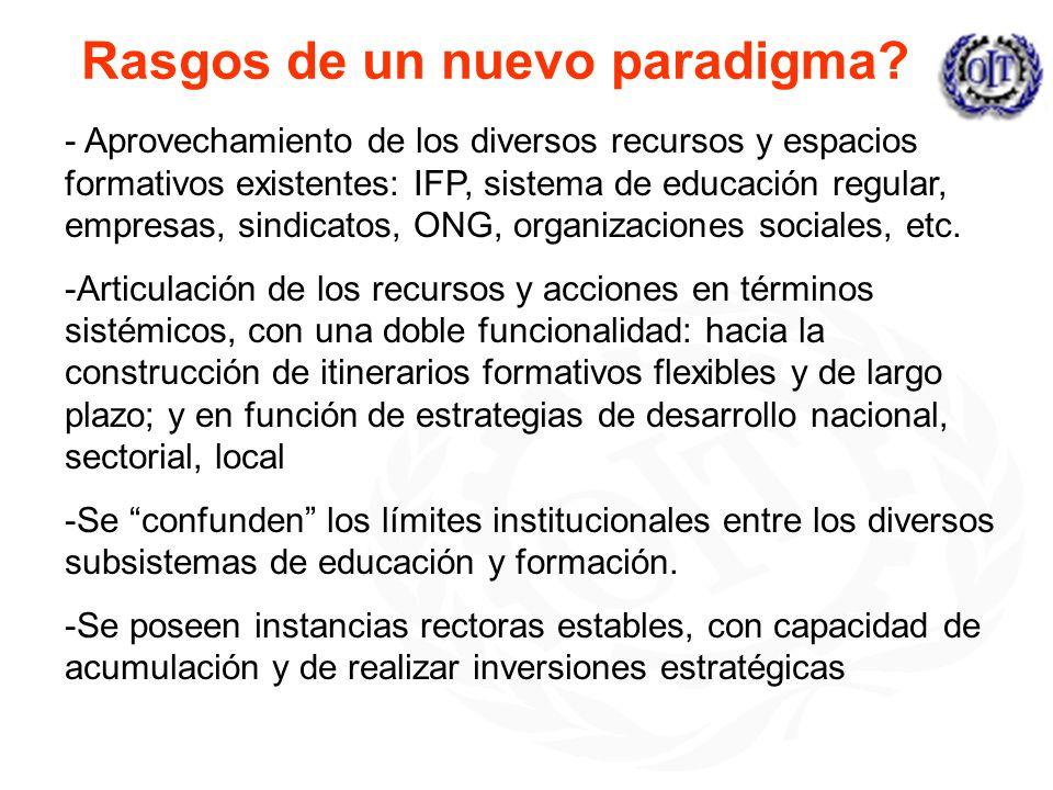 Rasgos de un nuevo paradigma? - Aprovechamiento de los diversos recursos y espacios formativos existentes: IFP, sistema de educación regular, empresas