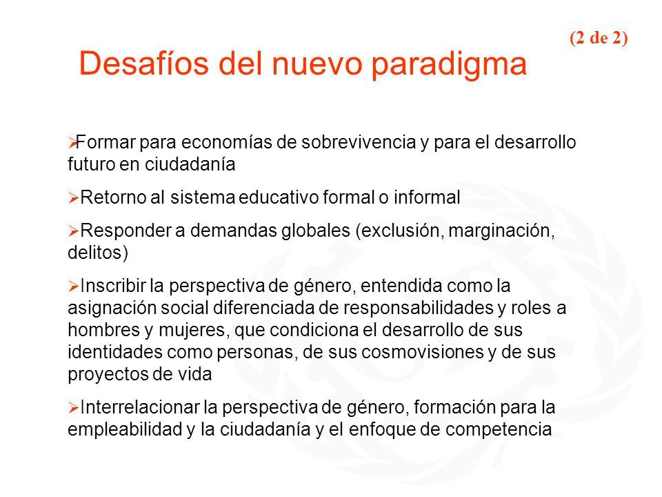 Desafíos del nuevo paradigma Formar para economías de sobrevivencia y para el desarrollo futuro en ciudadanía Retorno al sistema educativo formal o in