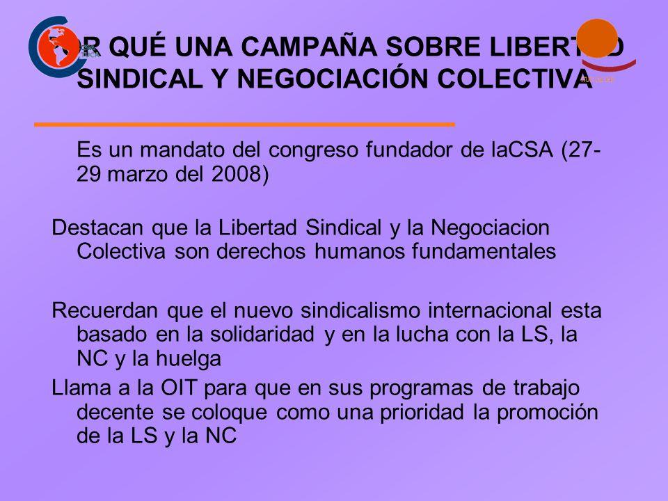 POR QUÉ UNA CAMPAÑA SOBRE LIBERTAD SINDICAL Y NEGOCIACIÓN COLECTIVA Es un mandato del congreso fundador de laCSA (27- 29 marzo del 2008) Destacan que la Libertad Sindical y la Negociacion Colectiva son derechos humanos fundamentales Recuerdan que el nuevo sindicalismo internacional esta basado en la solidaridad y en la lucha con la LS, la NC y la huelga Llama a la OIT para que en sus programas de trabajo decente se coloque como una prioridad la promoción de la LS y la NC