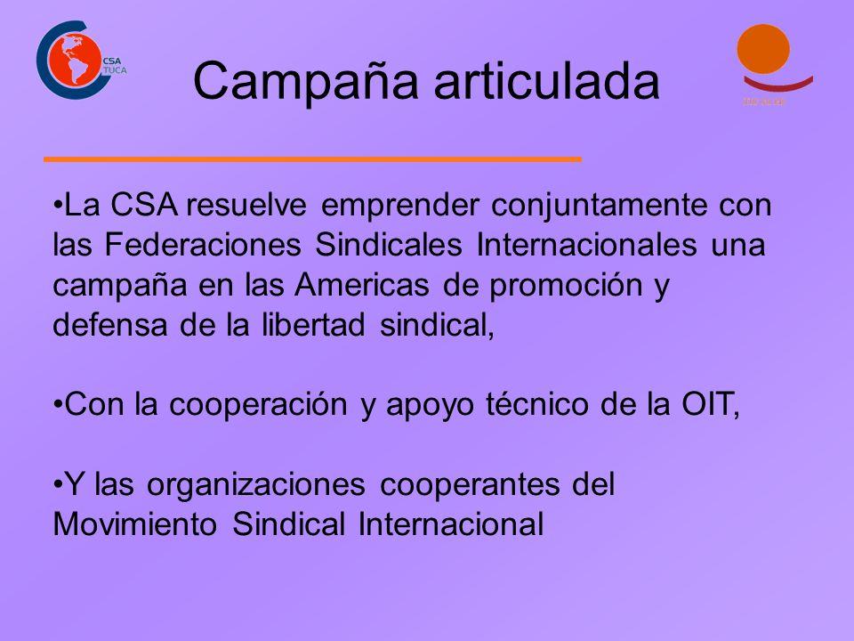 Campaña articulada La CSA resuelve emprender conjuntamente con las Federaciones Sindicales Internacionales una campaña en las Americas de promoción y defensa de la libertad sindical, Con la cooperación y apoyo técnico de la OIT, Y las organizaciones cooperantes del Movimiento Sindical Internacional
