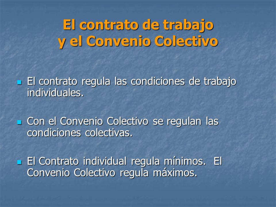 El contrato de trabajo y el Convenio Colectivo El contrato regula las condiciones de trabajo individuales.