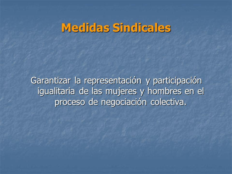 Medidas Sindicales Garantizar la representación y participación igualitaria de las mujeres y hombres en el proceso de negociación colectiva.