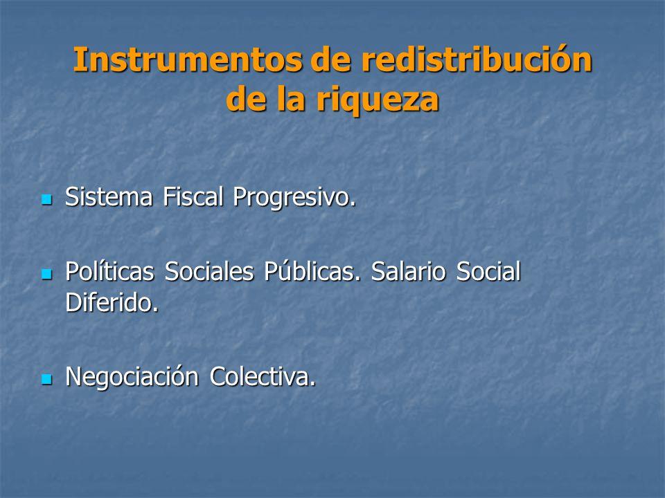 Instrumentos de redistribución de la riqueza Sistema Fiscal Progresivo.