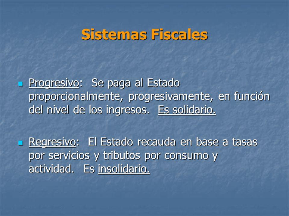 Sistemas Fiscales Progresivo: Se paga al Estado proporcionalmente, progresivamente, en función del nivel de los ingresos.