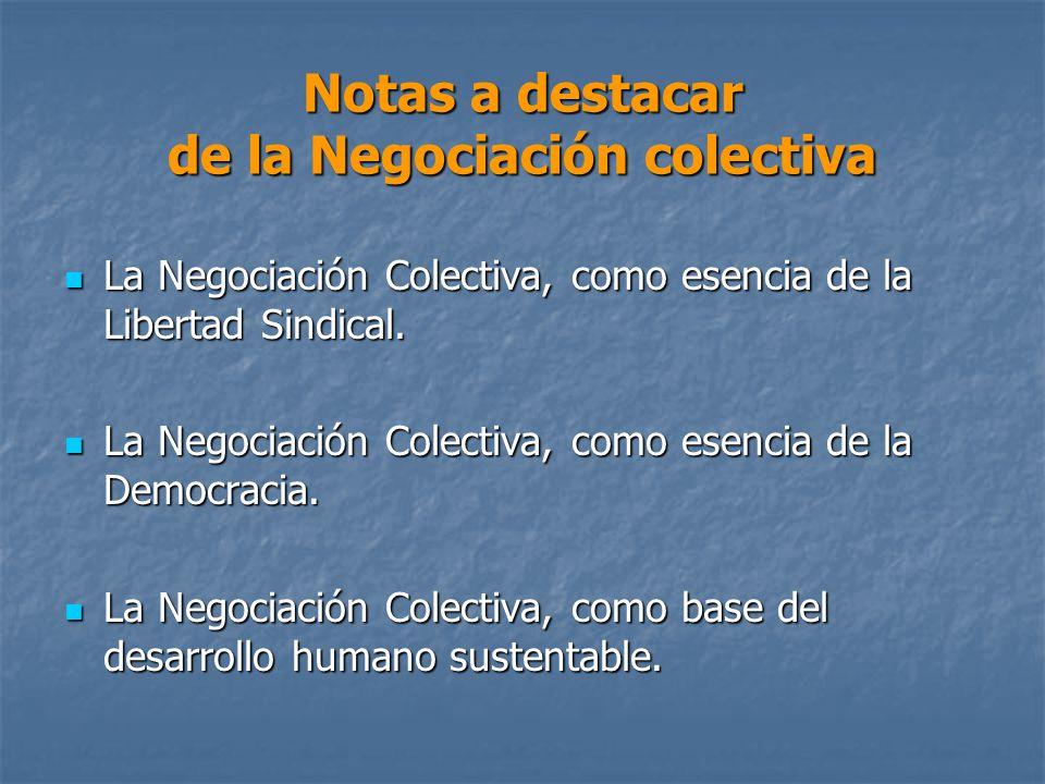 Notas a destacar de la Negociación colectiva La Negociación Colectiva, como esencia de la Libertad Sindical.