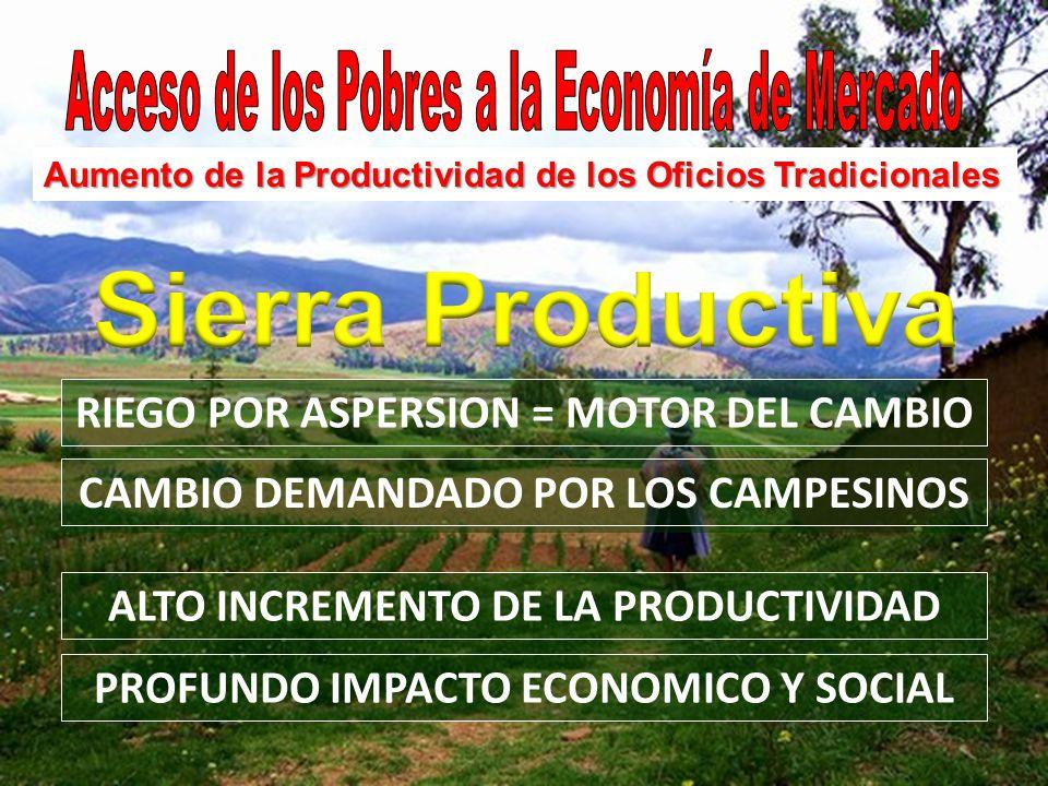 RIEGO POR ASPERSION = MOTOR DEL CAMBIO CAMBIO DEMANDADO POR LOS CAMPESINOS Aumento de la Productividad de los Oficios Tradicionales ALTO INCREMENTO DE LA PRODUCTIVIDAD PROFUNDO IMPACTO ECONOMICO Y SOCIAL
